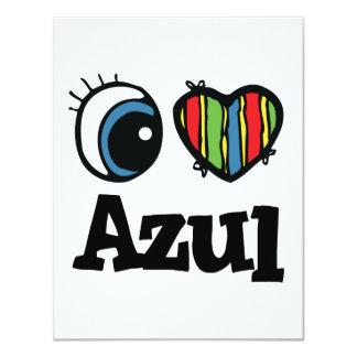 """I corazón (amor) Azul Invitación 4.25"""" X 5.5"""""""
