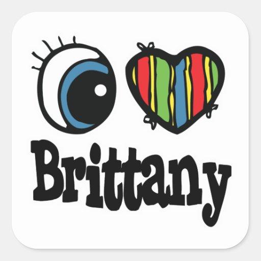 I corazón (amor) Bretaña Pegatina Cuadrada