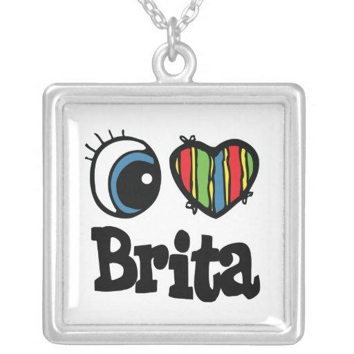 I corazón (amor) Brita Colgante Cuadrado