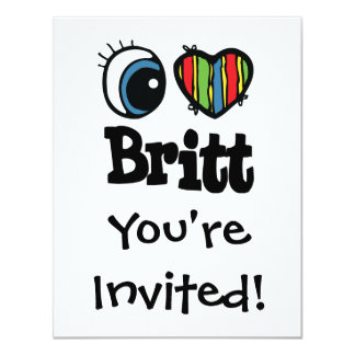 "I corazón (amor) Britt Invitación 4.25"" X 5.5"""