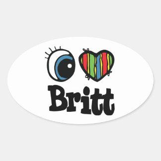 I corazón (amor) Britt Pegatina Ovalada