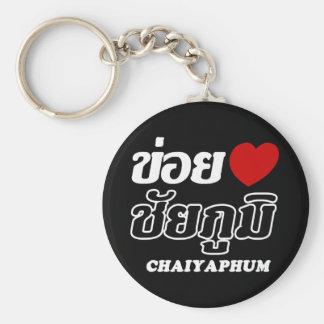 I corazón (amor) Chaiyaphum, Isan, Tailandia Llavero Redondo Tipo Pin