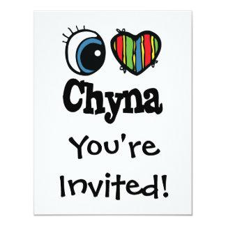 """I corazón (amor) Chyna Invitación 4.25"""" X 5.5"""""""