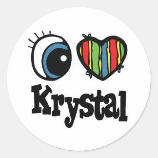 I corazón (amor) Krystal Pegatina Redonda
