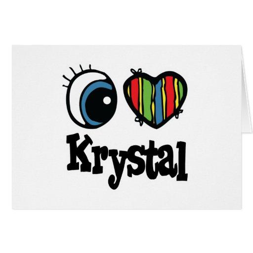 I corazón (amor) Krystal Tarjeta De Felicitación