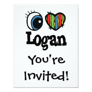 """I corazón (amor) Logan Invitación 4.25"""" X 5.5"""""""
