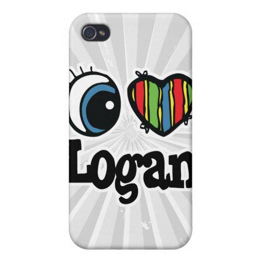 I corazón (amor) Logan iPhone 4 Fundas