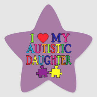 I corazón (amor) mi hija autística pegatina en forma de estrella