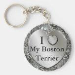 I corazón (amor) mi llavero de Boston Terrier