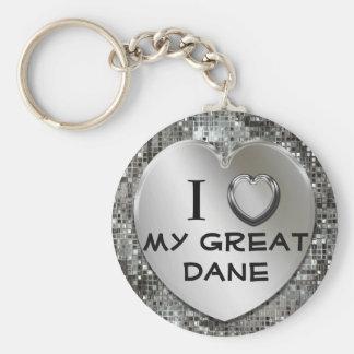 I corazón (amor) mi llavero de great dane