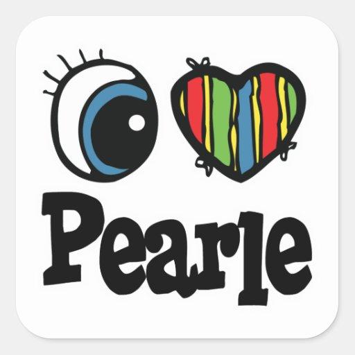 I corazón (amor) Pearle Pegatina Cuadrada