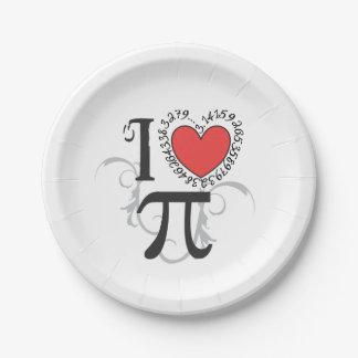 I corazón (amor) pi plato de papel de 7 pulgadas