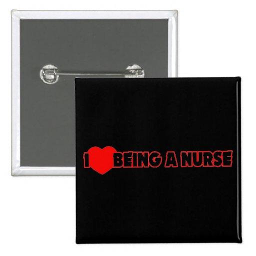 I corazón (amor) que es una enfermera pin cuadrada 5 cm