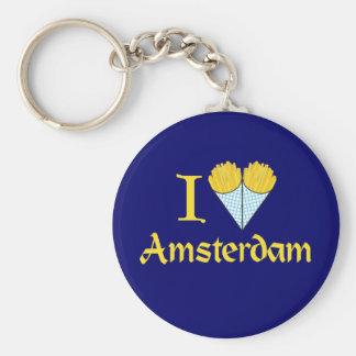 I corazón Amsterdam Llavero Redondo Tipo Pin