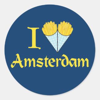 I corazón Amsterdam Pegatina Redonda