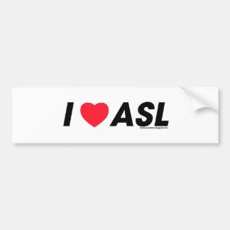 I corazón ASL Etiqueta De Parachoque