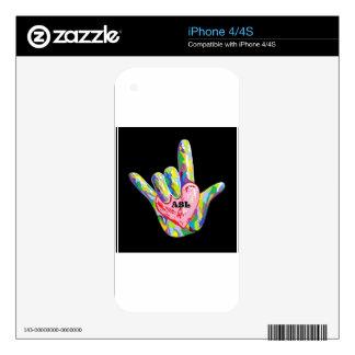 I corazón ASL iPhone 4S Calcomanía