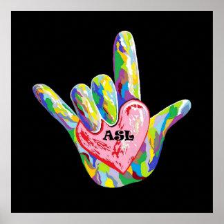 I corazón ASL Póster