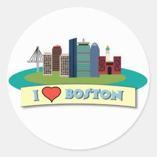 I corazón Boston Pegatina Redonda