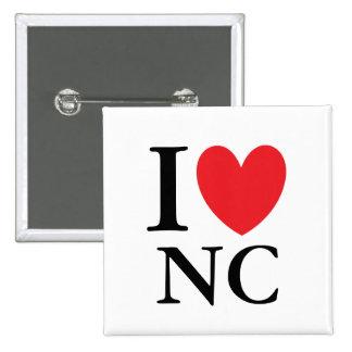 I corazón Carolina del Norte Pin Cuadrado