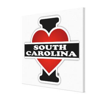 I corazón Carolina del Sur Impresión En Lienzo Estirada