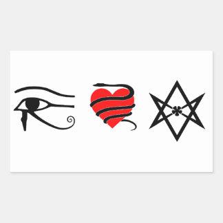 I corazón (ceñido con una serpiente) Thelema Rectangular Pegatina