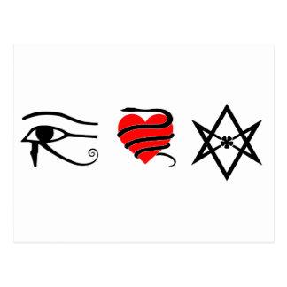 I corazón ceñido con una serpiente Thelema Postales