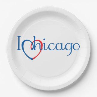 I corazón Chicago Plato De Papel De 9 Pulgadas