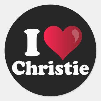 I corazón Chris Christie Pegatinas Redondas