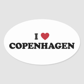 I corazón Copenhague Dinamarca Pegatina Ovalada