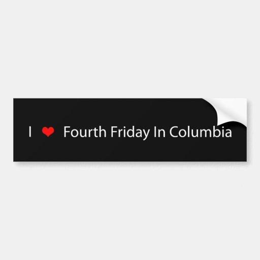 I corazón cuarto viernes en Columbia Pegatina Para Auto