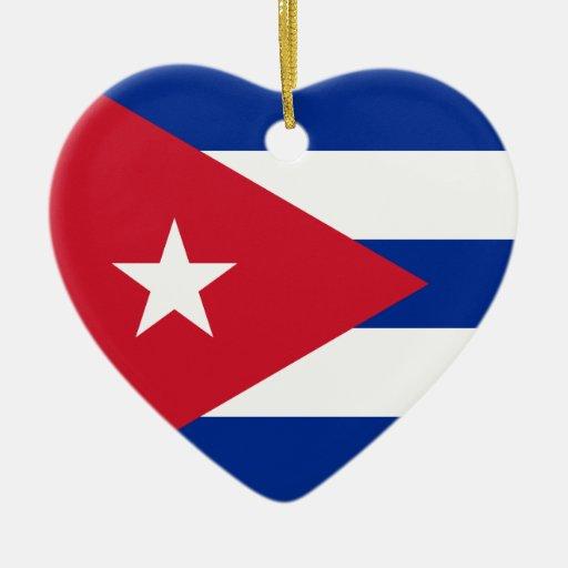 ¡I corazón Cuba! Adorno Navideño De Cerámica En Forma De Corazón