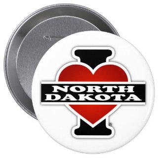 I corazón Dakota del Norte Pin Redondo De 4 Pulgadas