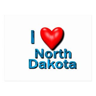 I corazón Dakota del Norte Tarjetas Postales