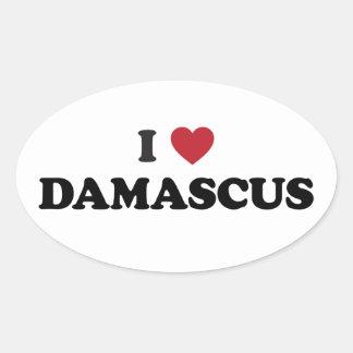I corazón Damasco Siria Calcomanías Ovaladas Personalizadas