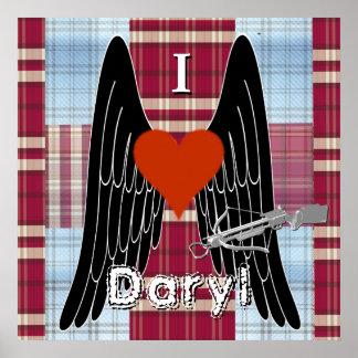 I corazón Daryl con la ballesta, las alas y el Póster