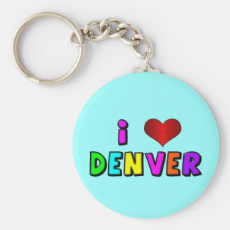 """I """"corazón"""" Denver Keycnain Llavero Redondo Tipo Pin"""