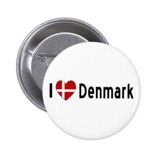 I corazón Dinamarca Pin Redondo De 2 Pulgadas