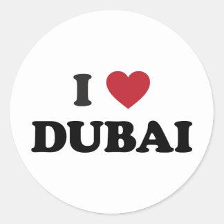 I corazón Dubai United Arab Emirates Pegatina Redonda