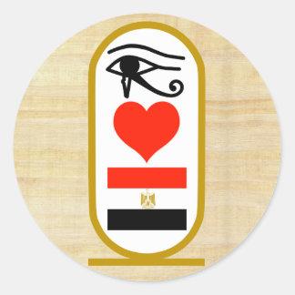 I corazón Egipto Pegatina Redonda