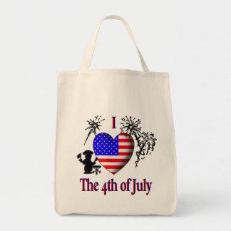 I corazón el 4 de julio bolsa tela para la compra