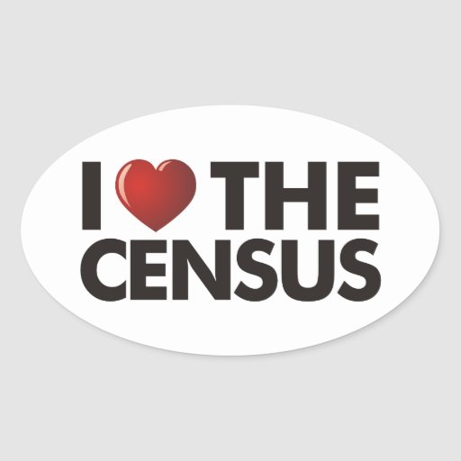I corazón el censo pegatina ovalada