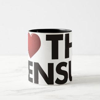 I corazón el censo taza de café