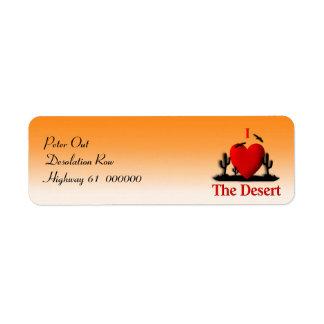 I corazón el desierto etiqueta de remite