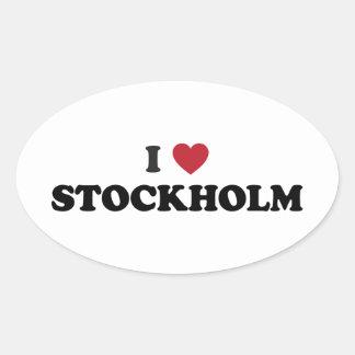 I corazón Estocolmo Suecia Pegatina Ovalada