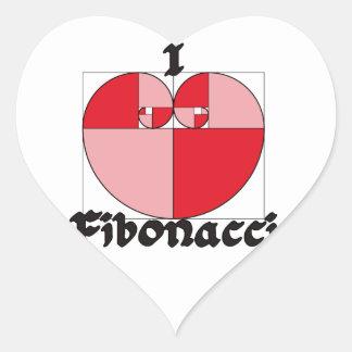 ¡I corazón Fibonacci! Pegatina En Forma De Corazón