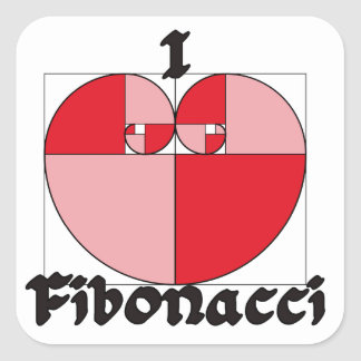 ¡I corazón Fibonacci! Pegatina Cuadrada