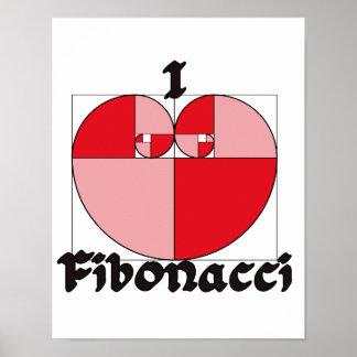 I corazón Fibonacci Póster