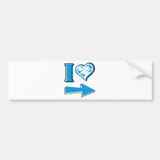 I corazón - flecha azul etiqueta de parachoque