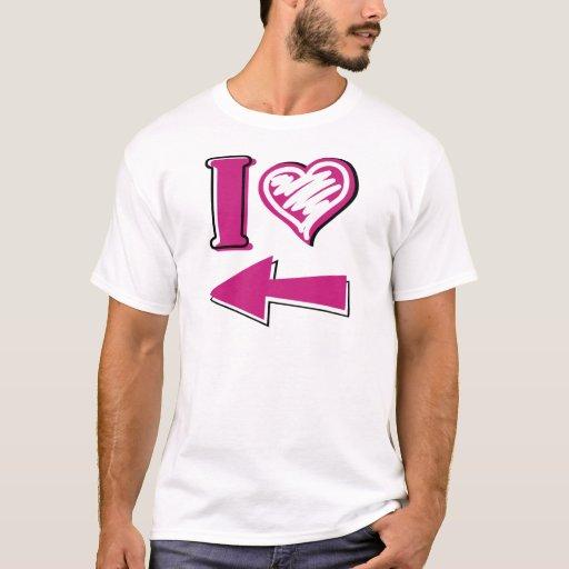 I corazón - flecha rosada playera
